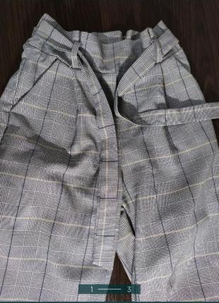 Штаны брюки в клетку клеточку серые с высокой талией мом классические2 фото