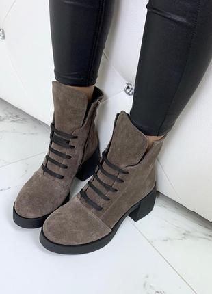 Ботиночки высок  натуральная замша1 фото