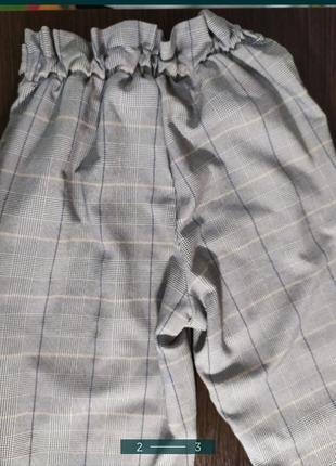 Штаны брюки в клетку клеточку серые с высокой талией мом классические3 фото