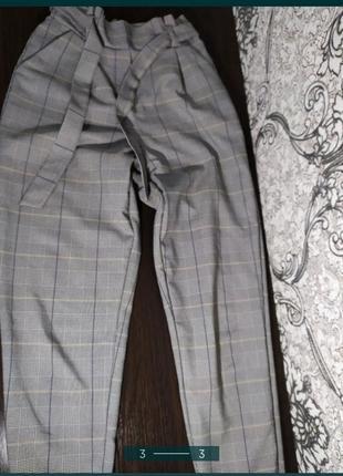 Штаны брюки в клетку клеточку серые с высокой талией мом классические4 фото