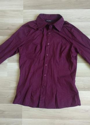 Базовая итальянская рубашка цвета бордо1 фото