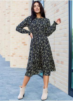 Ніжне плаття міді квітковий принт1 фото