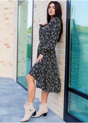 Ніжне плаття міді квітковий принт3 фото