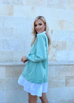 Платье хлопковое оливковое1 фото