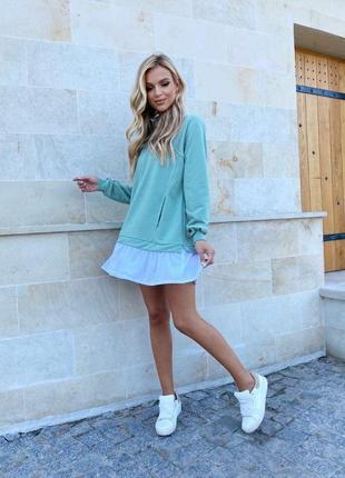 Платье хлопковое оливковое3 фото