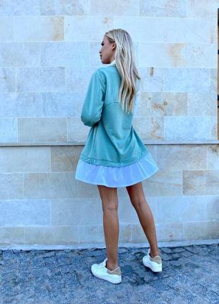 Платье хлопковое оливковое2 фото