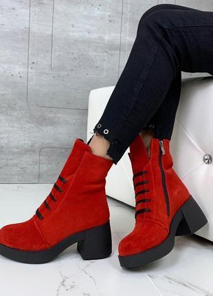 Ботиночки высокие натуральная замша6 фото