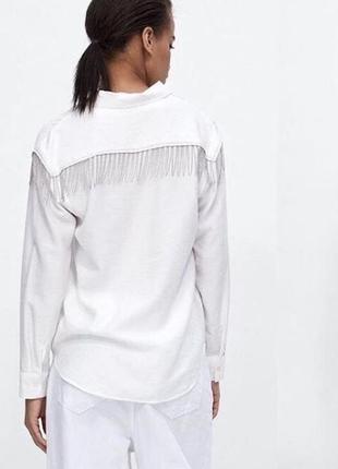 Крутая рубашка белая с цепочками на спине свободная zara оригинал1 фото
