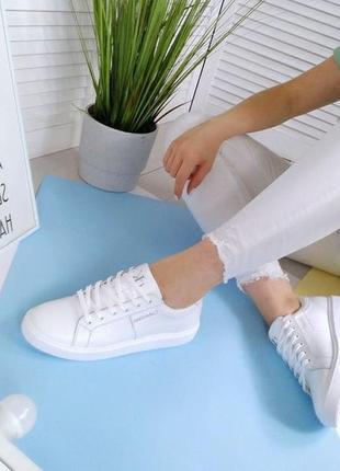 Новые женские кожаные белые кроссовки кросівки4 фото