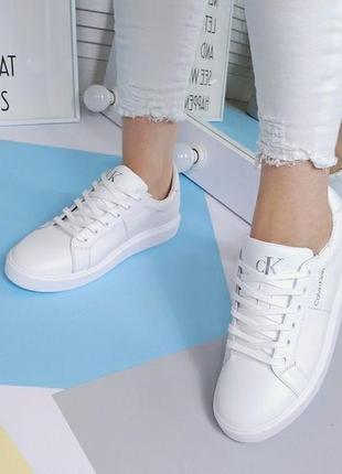 Новые женские кожаные белые кроссовки кросівки5 фото
