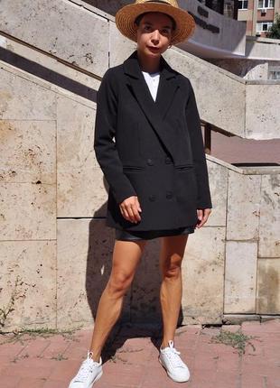 Двубортный черный пиджак2 фото