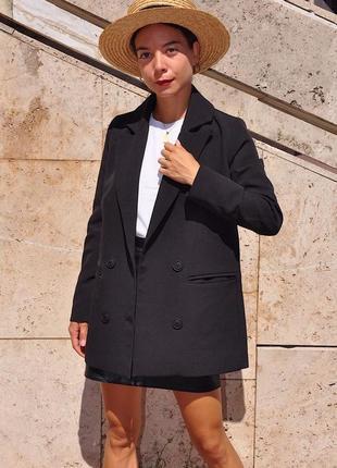 Двубортный черный пиджак1 фото