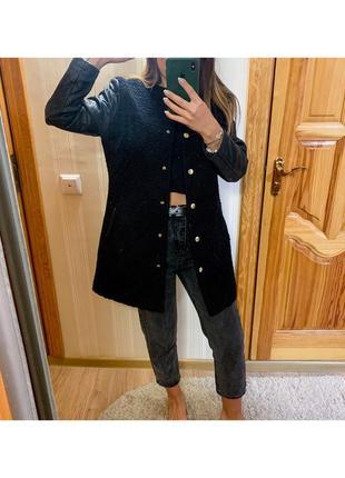 Пальто с кожаными рукавами2 фото