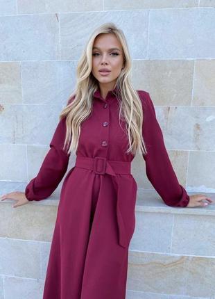 Платье с поясом бордовое2 фото