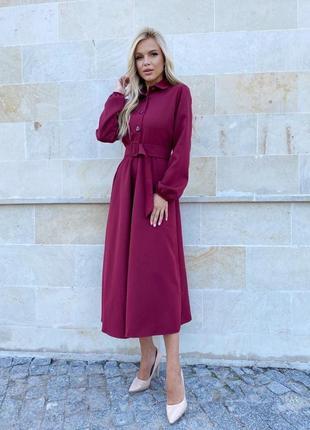 Платье с поясом бордовое1 фото