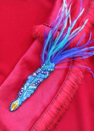 Изысканная брошь перо в подарок для замечательных преподавателей1 фото