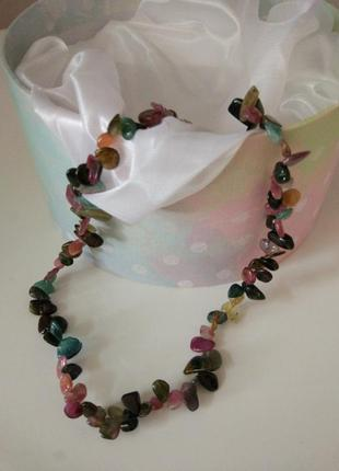 Украшение на шею бусы турмалин 45см колье ожерелье2 фото