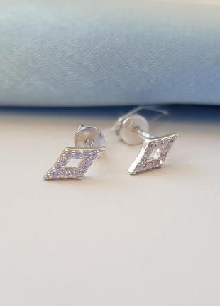 Серебряные серьги гвоздики3 фото
