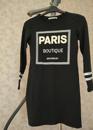 Платье черное трикотаж приталенное1 фото