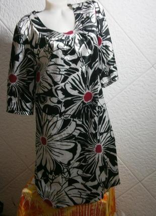 Платье туника рукав 3/4 цветы атлас