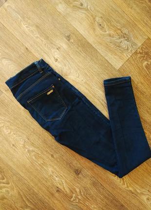 Фирменные базовые женские зауженные джинсы скинни синего цвета zara5 фото