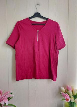 Стильная футболка цвета фуксия/красивая малиновая футболка/базовая футболка1 фото