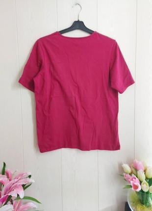 Стильная футболка цвета фуксия/красивая малиновая футболка/базовая футболка2 фото
