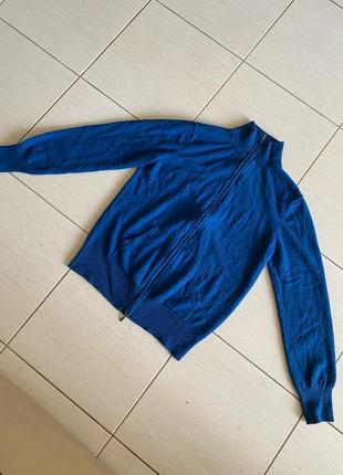 Дорогая шикарная кофта с шелка и кашемира, синяя/изумрудная1 фото