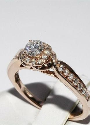 Золотое кольцо 585  бриллианты 0.51ct размер 17 сертификат5 фото