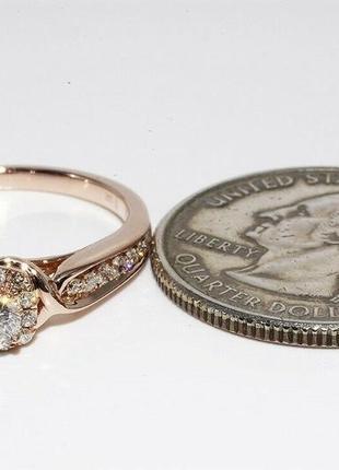 Золотое кольцо 585  бриллианты 0.51ct размер 17 сертификат8 фото