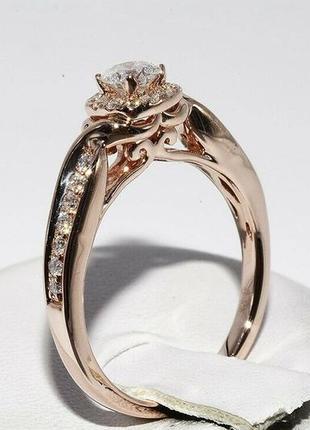 Золотое кольцо 585  бриллианты 0.51ct размер 17 сертификат7 фото