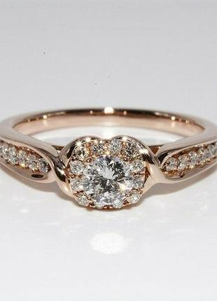 Золотое кольцо 585  бриллианты 0.51ct размер 17 сертификат1 фото