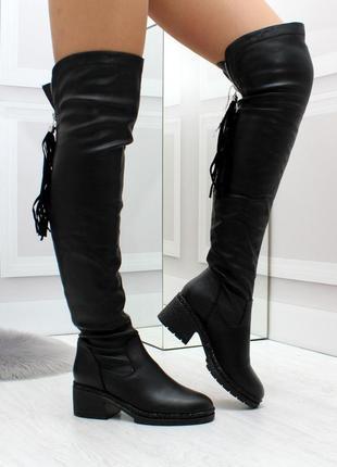 Новые женские демисезонные чёрные сапоги ботфорты1 фото