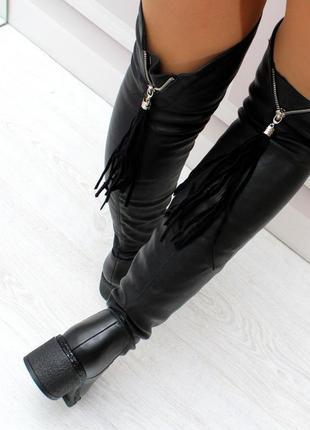 Новые женские демисезонные чёрные сапоги ботфорты3 фото