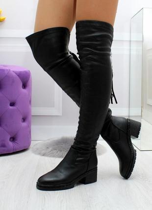 Новые женские демисезонные чёрные сапоги ботфорты4 фото