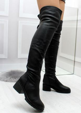 Новые женские демисезонные чёрные сапоги ботфорты6 фото