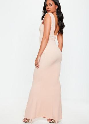 Персиковое макси платье2 фото