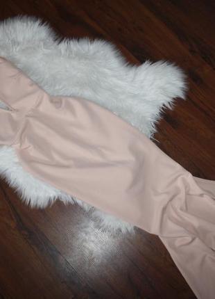 Персиковое макси платье3 фото
