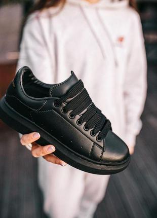 Кроссовки alexander mcqueen в черном цвете кожаные (36-40)💜6 фото