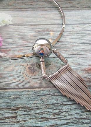 Женская цепочка , колье (серебристая)2 фото
