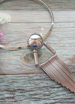 Женская цепочка , колье (серебристая)3 фото