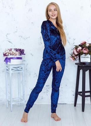 Mito julia 1605 кофта брюки пижама комплект мраморный велюр темно синий