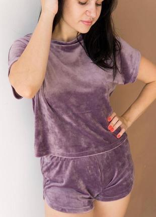 Домашний костюм шорты+ футболка серый s / m4 фото