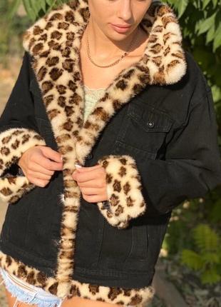 Эксклюзивная джинсовка джинсовая с мехом норки леопард, s,m,l