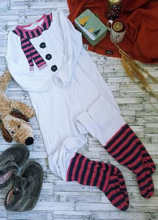 Теплая пижама снеговик новогодний комбинезон для дома кигуруми secret possessions1 фото