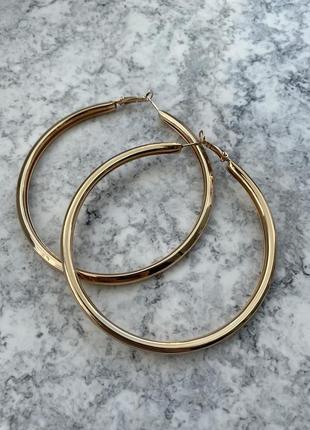 Серьги кольца крупные 9 см золото