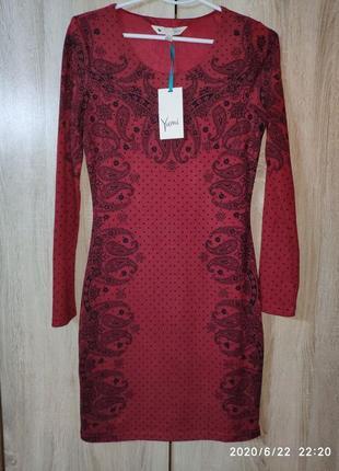 Красивое платье бордового цвета с черным принтом, yumi3 фото