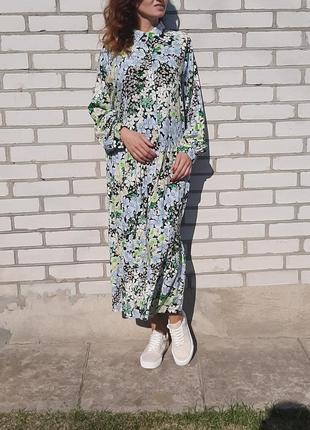 Красивое свободное платье в пол . длинное платье со шлярой . платье в цветы6 фото