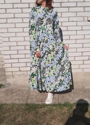 Красивое свободное платье в пол . длинное платье со шлярой . платье в цветы7 фото