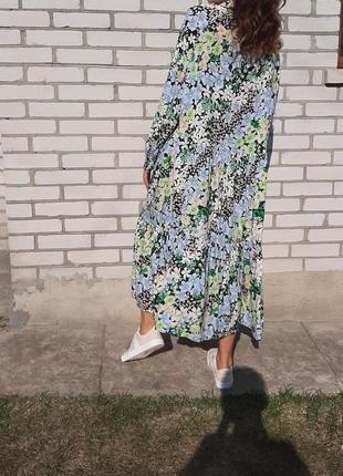Красивое свободное платье в пол . длинное платье со шлярой . платье в цветы5 фото